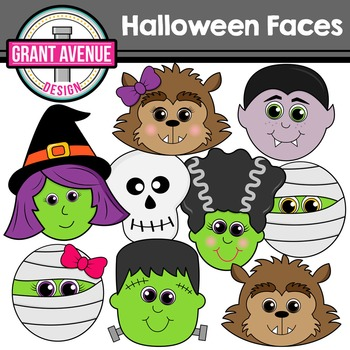 Halloween Clipart - Cute Halloween Faces