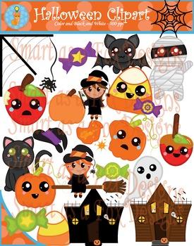 Halloween Digital Clipart (Blacklines included)