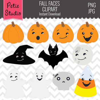 Halloween Clipart with Faces, Pumpkin Faces, Ghost Clipart - Fall113