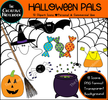 Halloween Clipart | Ghost, Spider Web, Candy Corn, Pumpkin, Bat, Cauldron