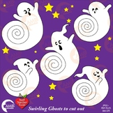 Halloween Clipart, Ghosts Clipart, Swirling Ghost Printabl