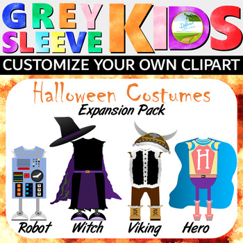 Halloween Clip Art, Halloween Costumes Expansion Pack, Grey Sleeve Kids