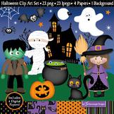 Halloween Clipart / Halloween Theme Clip Art / Witch / Pumpkin / Cat (C13)