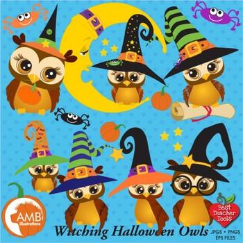 Halloween Clipart Owls Clipart, Witches Clipart, Pumpkin Clipart, AMB-300