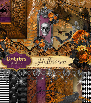 Halloween Clipart, PNG Embellishments, backgrounds, textures, digital paper