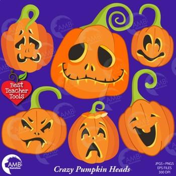 Halloween Clipart, Pumpkin Faces Clipart, Halloween Pumpkins Clip Art, AMB-2256