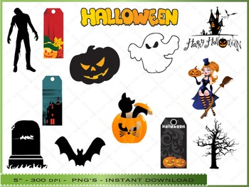 Halloween Clipart Set / 50 Clip Art Images of Halloween Objects / 4 Backgrounds
