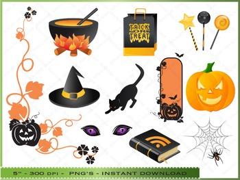 Halloween Clipart Set / 50 Clip Art Images of Halloween Ob
