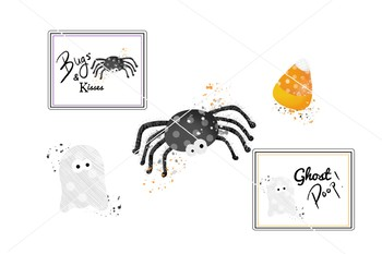 Halloween Clipart Set - Ghost - Spider - Tinsel and Taylor