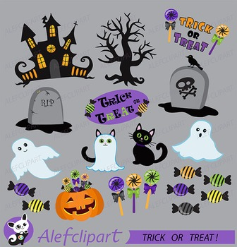 Halloween Clipart, Trick or Treat Clipart