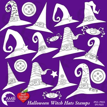 Halloween Clipart, Witch Hat Black line, Stamps, Witches Clip Art, AMB-2468