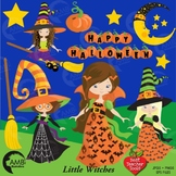 Halloween Clipart, Witches Clipart, Trick or Treat Clip Art, AMB-214B