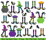 Halloween Clipart, Witches Legs Clip Art, Witches Feet Clipart, Witch Legs