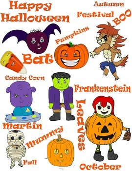 Halloween Clipart and Text for Fall Parties, Frankenstein, Mummy, Pumpkins!