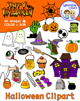 Halloween Clipart 60 images, Colored + B&W {Westside Clipart}