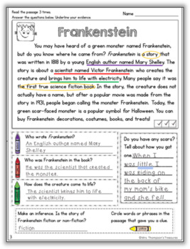 Halloween - Close Reading (Text Evidence/Inference) Comprehension Passages