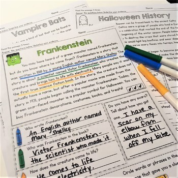 Halloween Reading Comprehension Passages (Text Evidence/Inference)