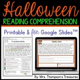 Halloween Reading Comprehension Passages Text Evidence Dis