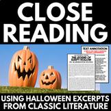 Close Reading Halloween Classics | No Prep Halloween Activities | Annotations