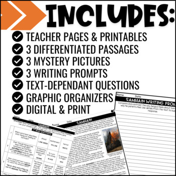 Halloween Close Reads w/ Mystery Picture Activity for Grades 3-6
