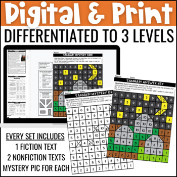 Halloween Close Reading Comprehension w/ Mystery Picture Activity
