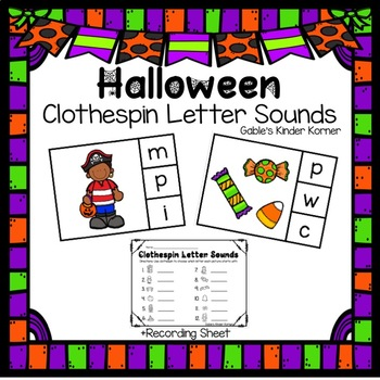 Halloween Clothespin Letter Sound Cards