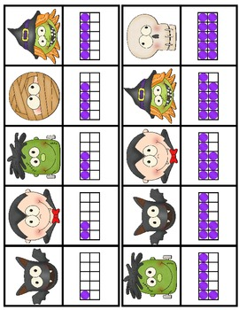 Halloween Clothespin Match-Ups:  Numbers-10-Frames / Uppercase-Lowercase Letters