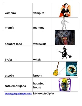 Halloween Cloze Passage w/vocab. pictures/Spanish translation