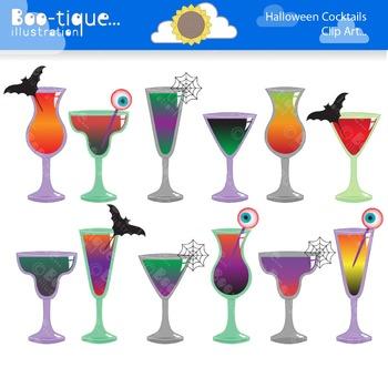Halloween Cocktails Clipart. Halloween Clip Art.