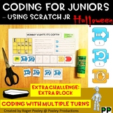 Halloween Coding -Using Scratch Jr, making turns, extra block, answer key, notes