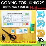 Halloween Coding for Juniors – Using Scratch Jr, making turns, answer key, notes