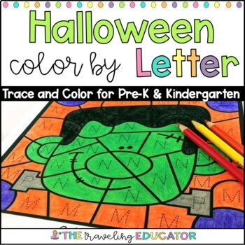 Halloween Color By Code Alphabet Trace Worksheets