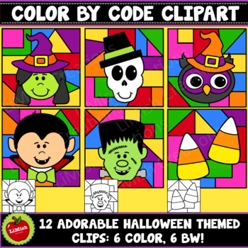 Halloween Color By Code Clipart