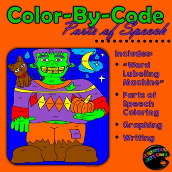 Halloween: Coloring Parts of Speech -- with graphing and writing exercises!