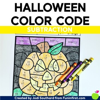 Halloween Color By Code - Subtraction