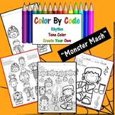 """Halloween Color By Code: """"The Monster Mash"""", Rhythm Symbols, Tone Color"""