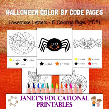 Halloween Color By Letter Pages (Lowercase Letters) - Set of 5