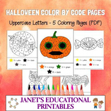 Halloween Color By Letter Pages (Uppercase Letters) - Set of 5