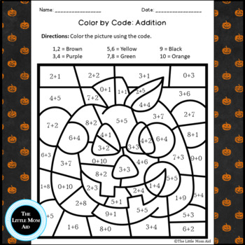 UPDATED! Halloween Color By Number Addition