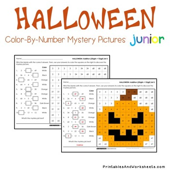 Halloween Addition Color-By-Number (Addition Facts, Within 20, 2-digits)