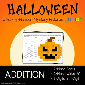 Halloween Math Addition Worksheets (Facts, Within 20 and 2-digits)