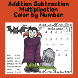 Halloween Color By Number Addition Subtraction Multiplicat