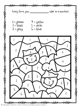 Halloween Color By Number Behavior Charts Elementary School Counseling