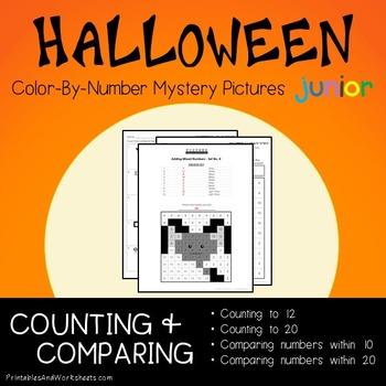 Kindergarten Halloween Color-By-Number