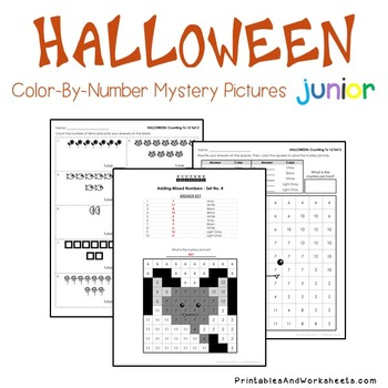 Halloween Counting Worksheets, Comparing, Greater Than Less Coloring Sheets