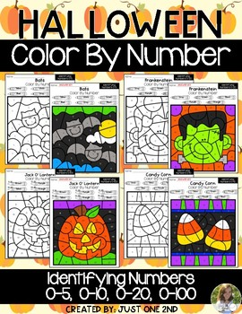 Halloween Color By Number: Identifying Numbers (0-5, 0-10, 0-20, 0-100)