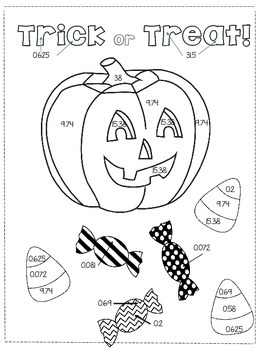 Halloween Color By Number Math