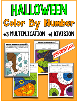 Halloween Color By Number-  Multiplication (3) Division (1