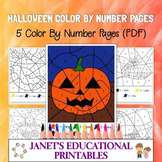 Halloween Color By Number Pages - Set of 5