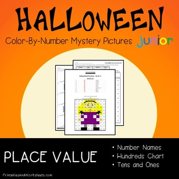 Halloween Math Place Value Worksheets Color-By-Number Code